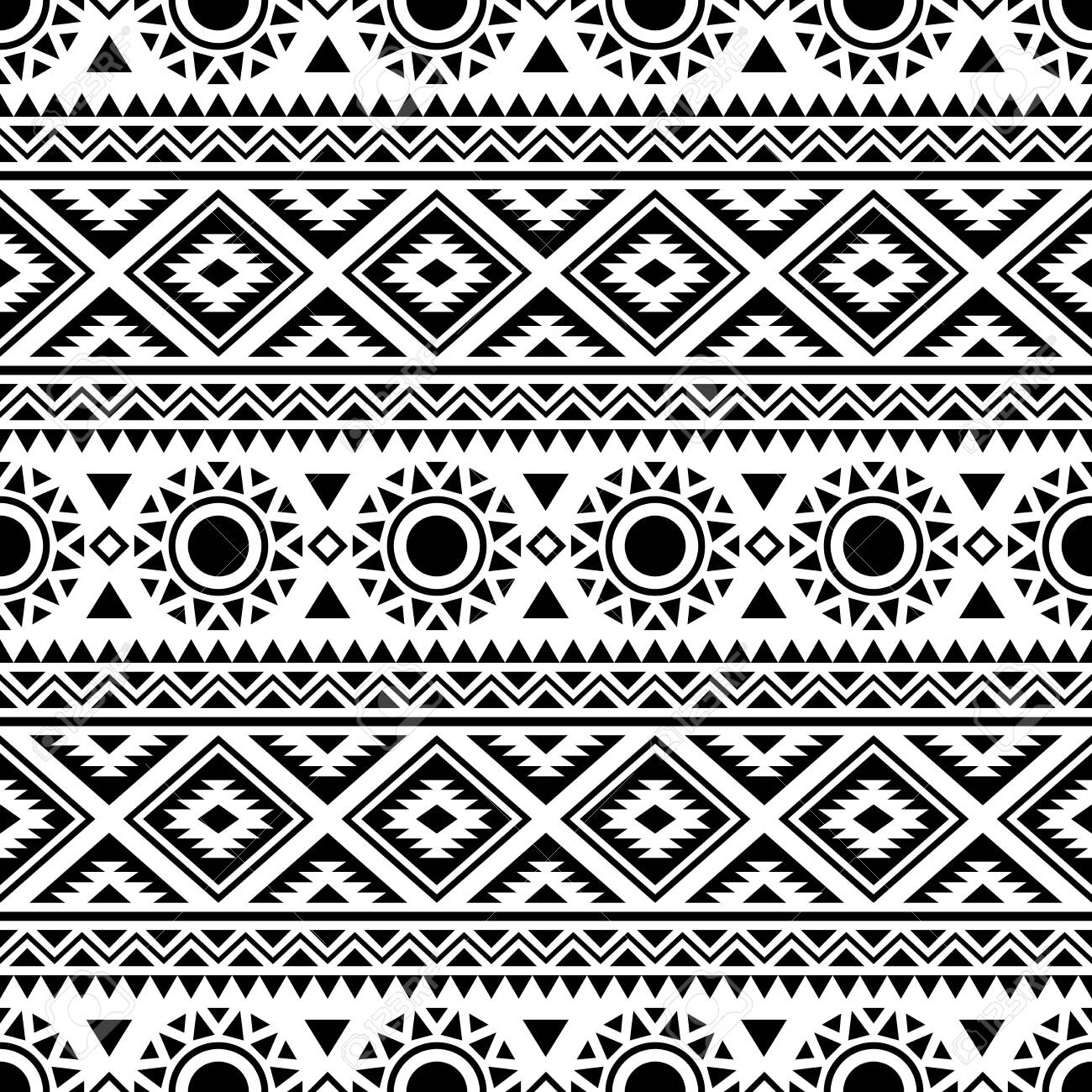 Seamless ethnic pattern. Traditional tribal pattern in black and white color - 141465355