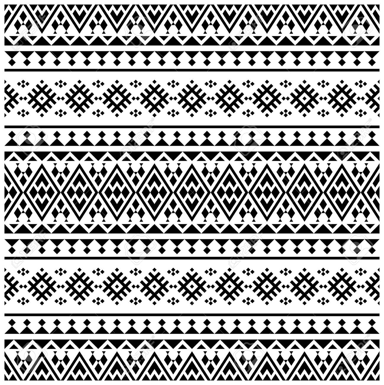 Aztec Ikat ethnic pattern vector in black and white color. Seamless Ethnic Pattern background texture - 150284184