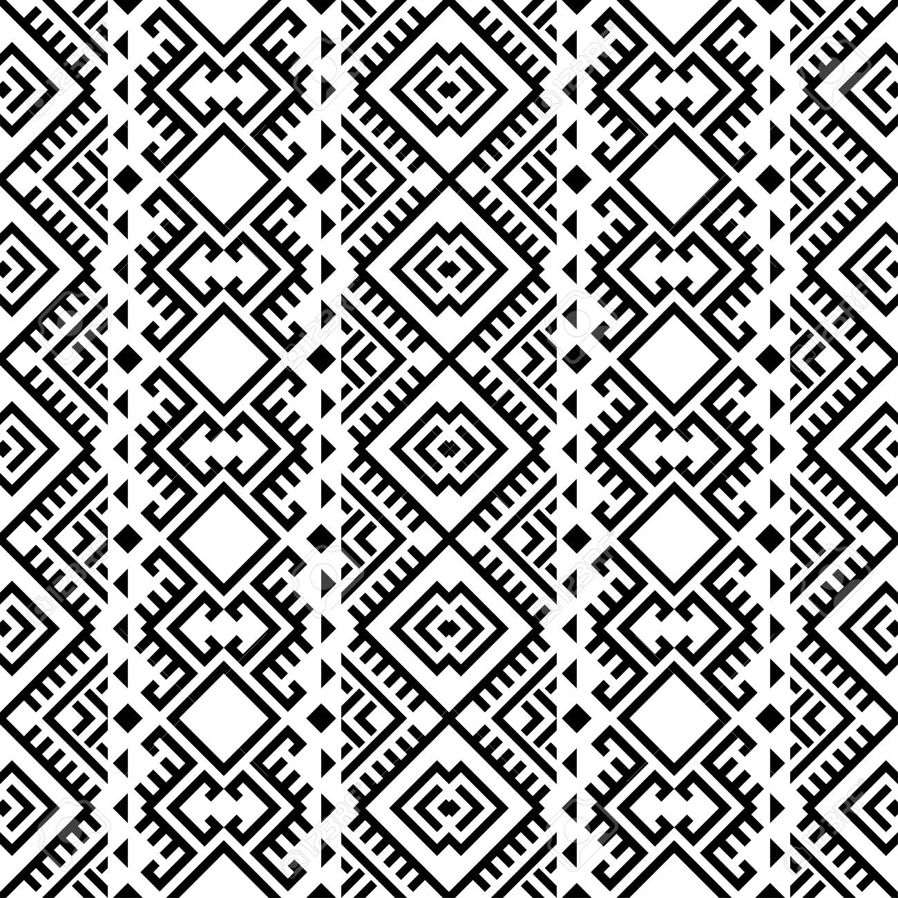 Aztec ethnic seamless pattern design in black and white color. Ethnic Illustration vector. - 153191100
