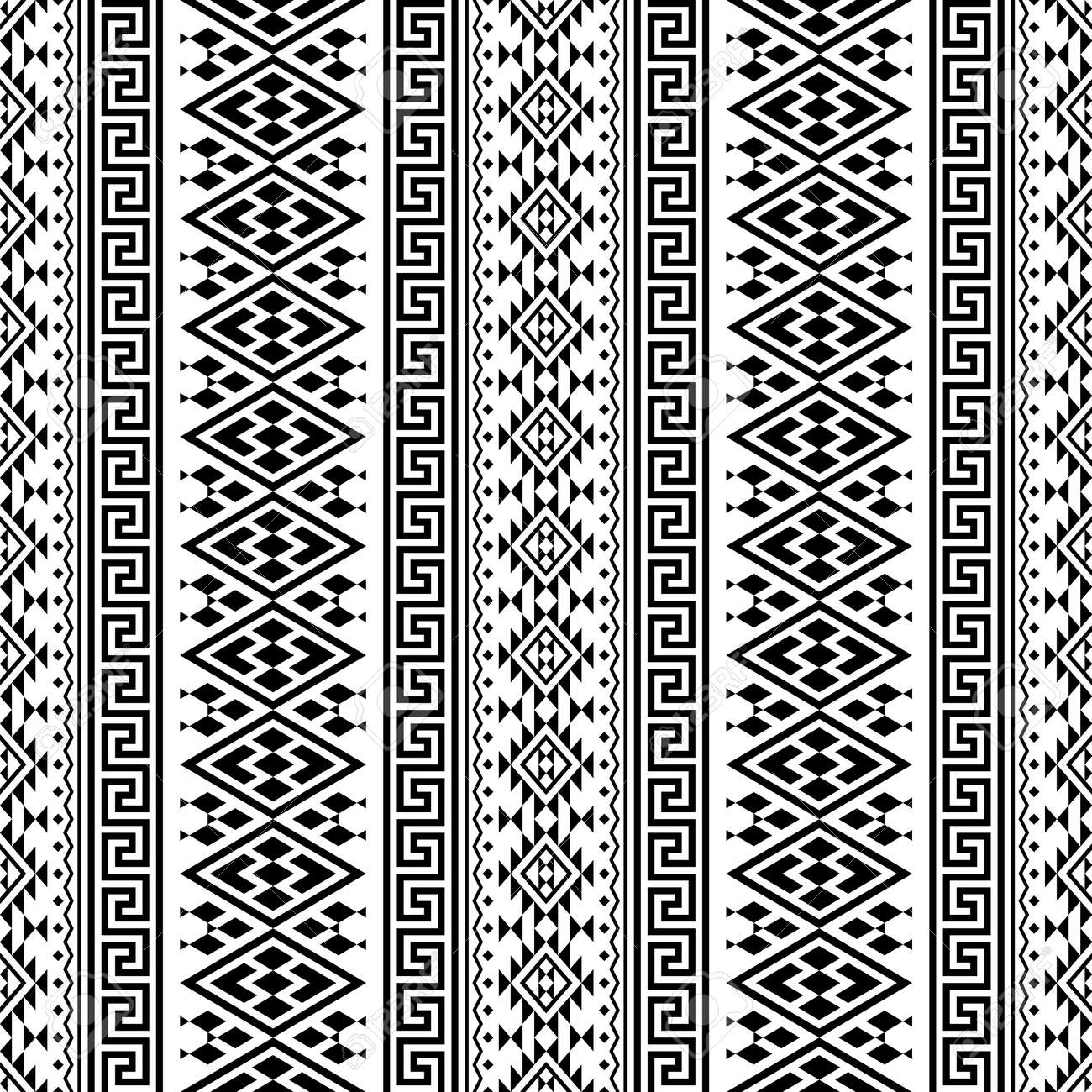 Seamless ethnic pattern texture background design in black white color - 155136491
