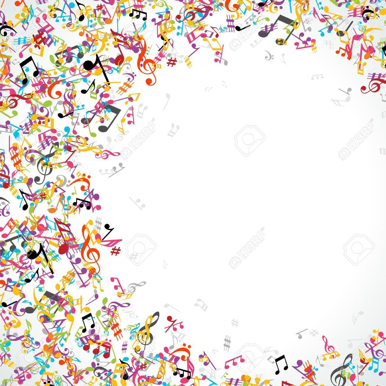 Colorful music notes background - 13260254