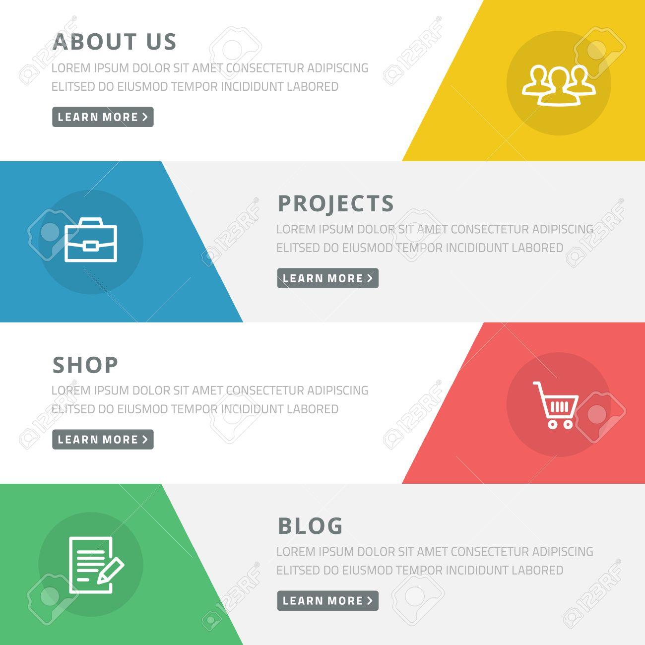 Flaches Design-Konzept Für Website-Vorlage - über Uns, Projekte ...