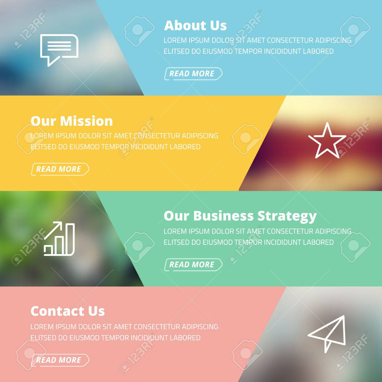 Flat Design Concept For Website Template - About Us, Projects ...