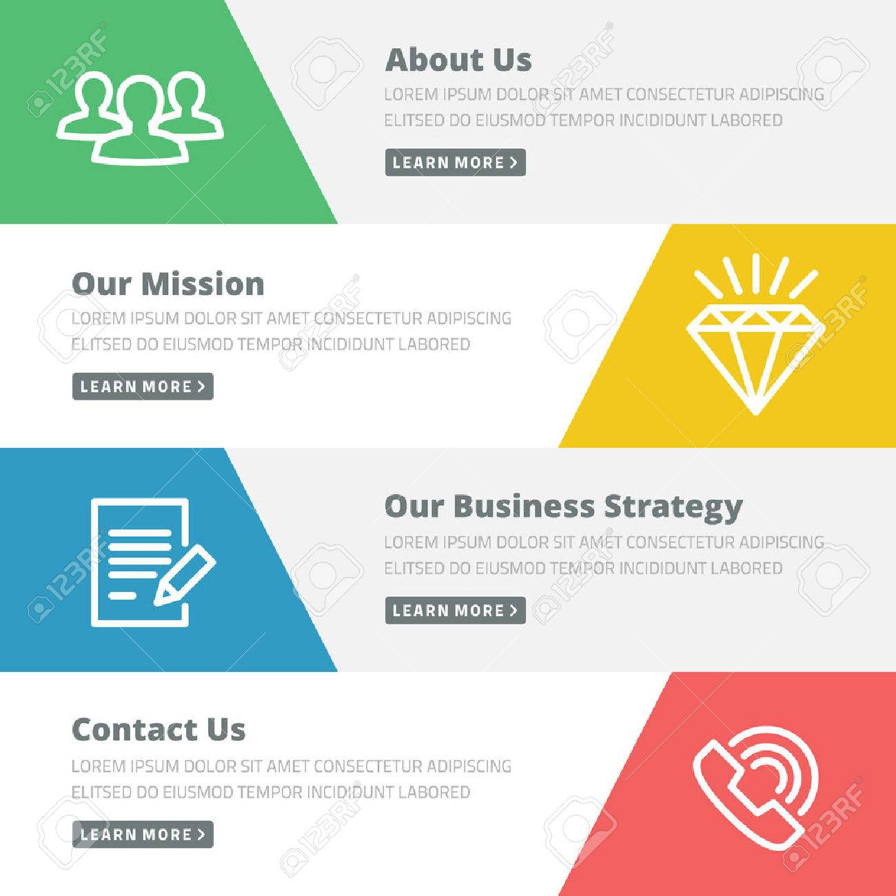 Flat Design Concept For Website Template - About Us, Our Mission ...
