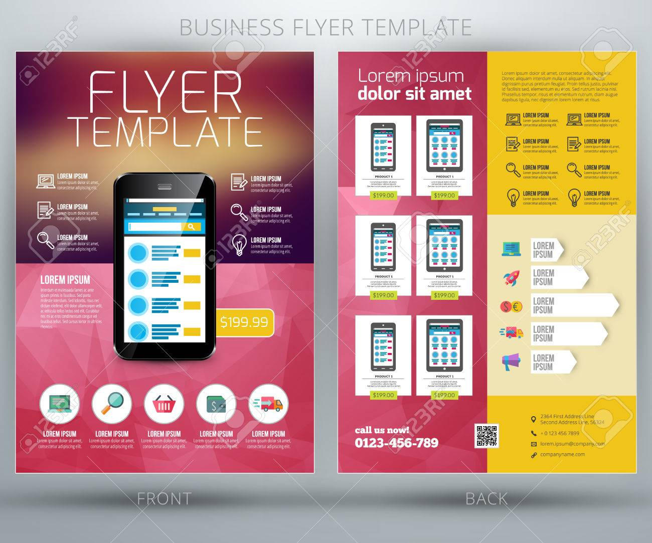 vector business flyer template for online shop royalty free