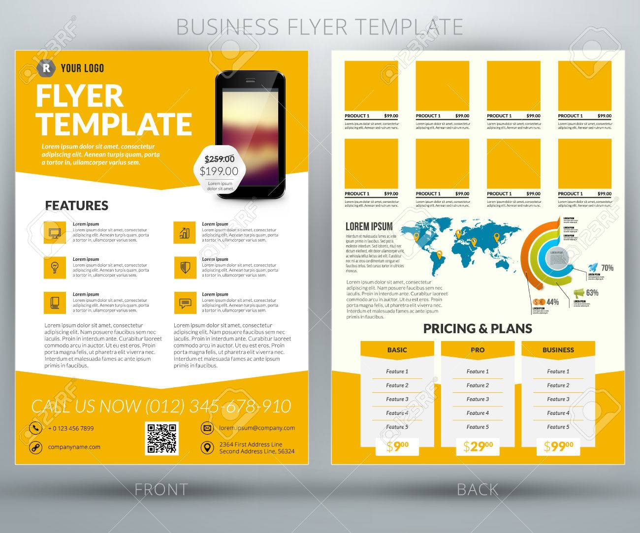 vector business flyer template mobile application advertising vector vector business flyer template mobile application advertising