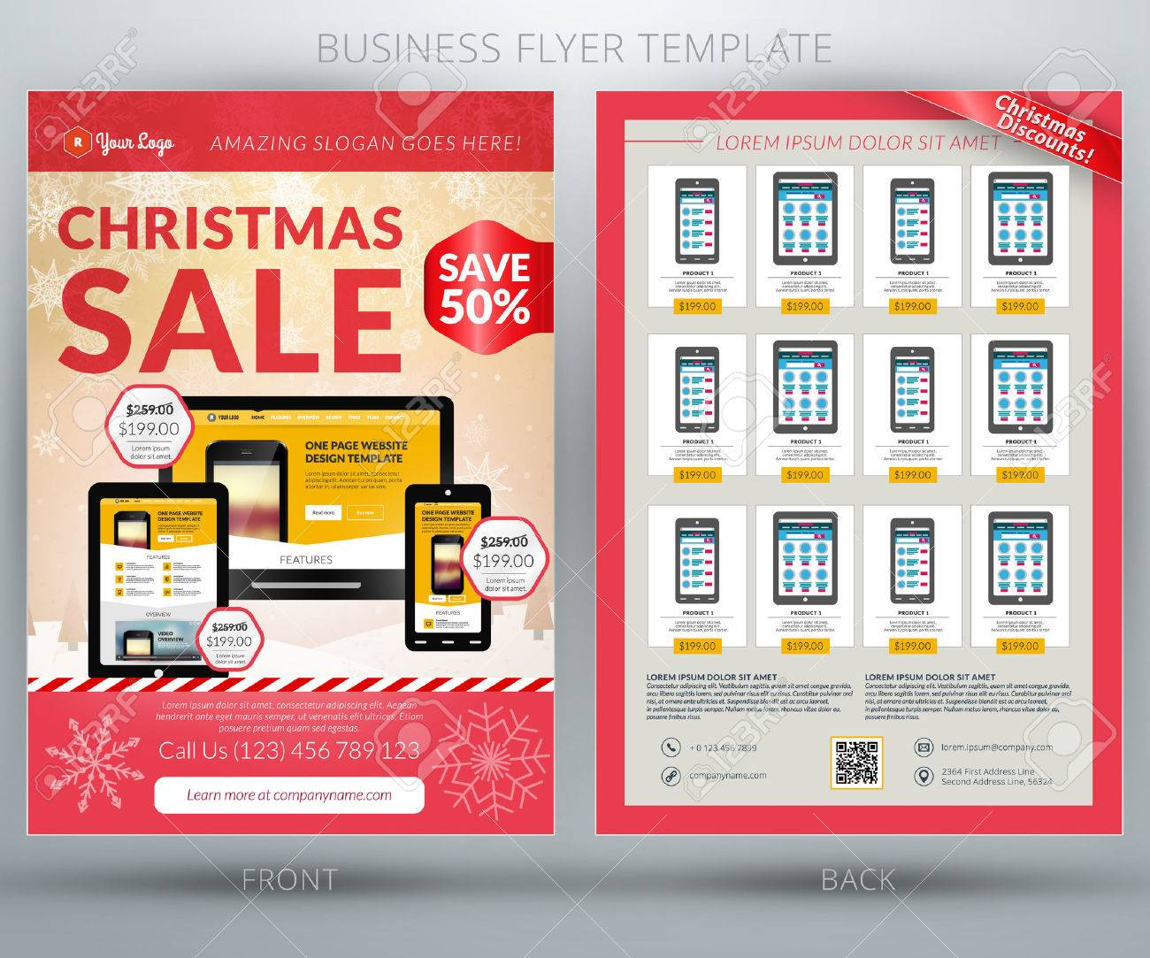 Vector Business Flyer Template. For Mobile Application Or Online ...