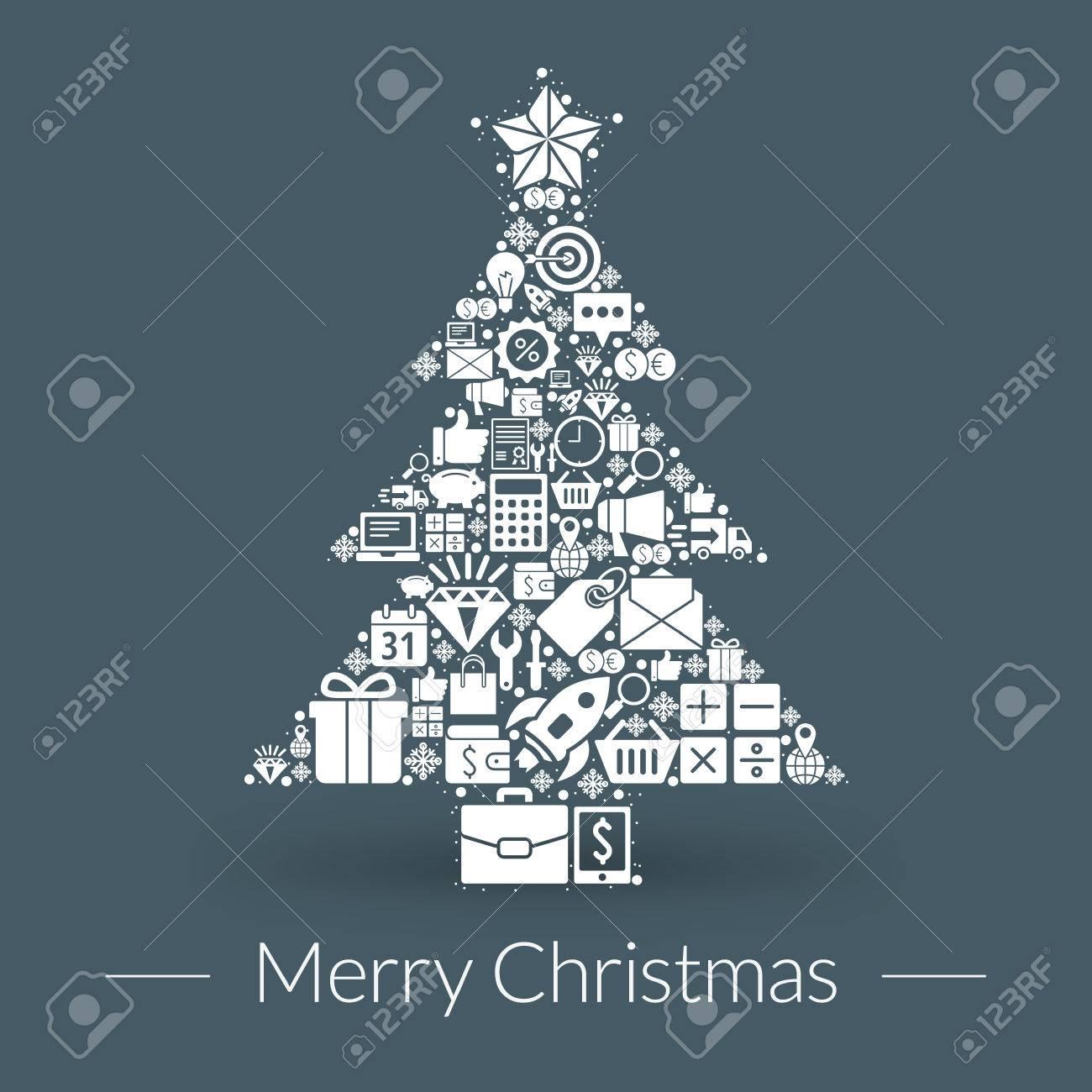 Christmas Greeting Card Icons And Symbols Tree Snowflakes Gift Box