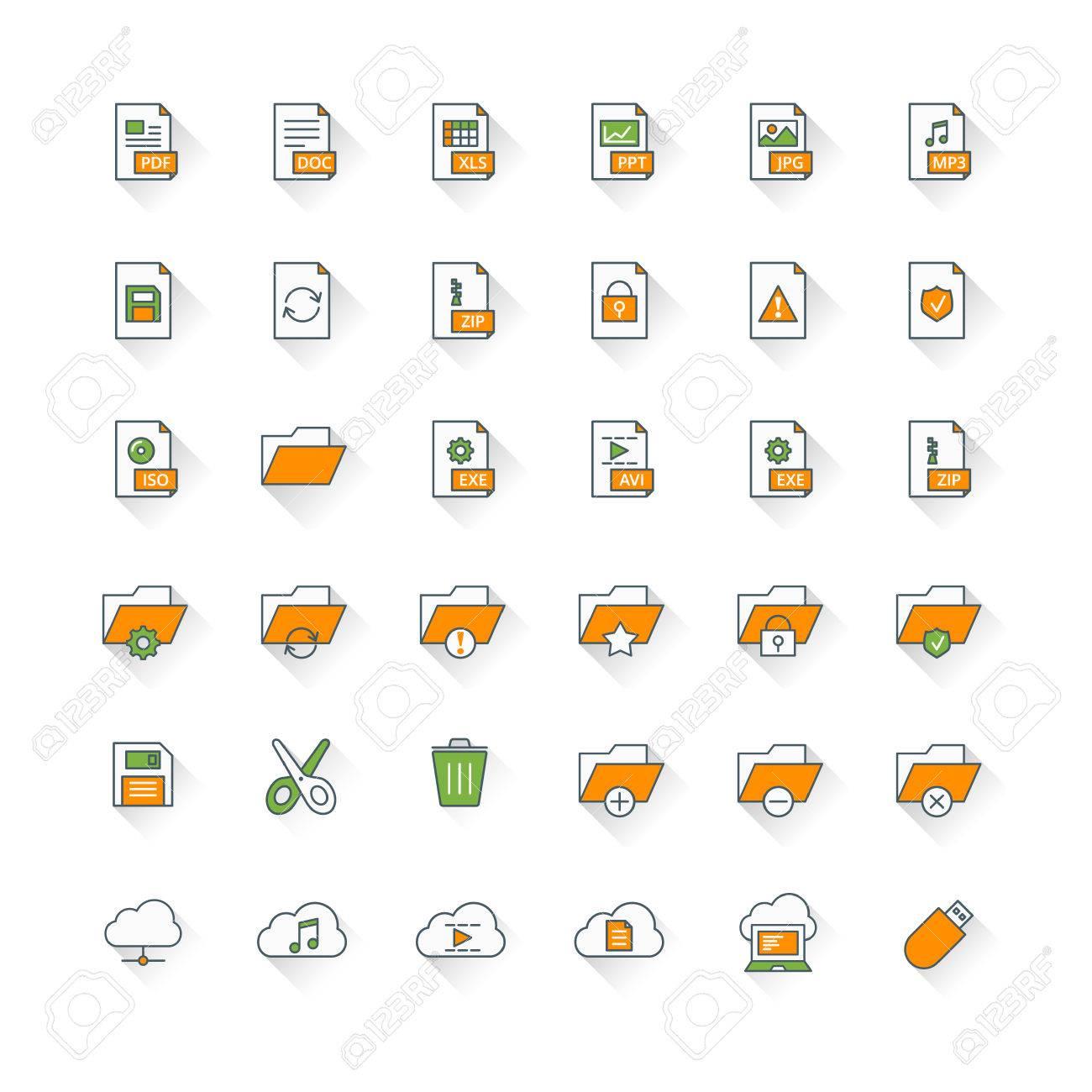 Files and folders flat design icon set  File type, folders, cloud