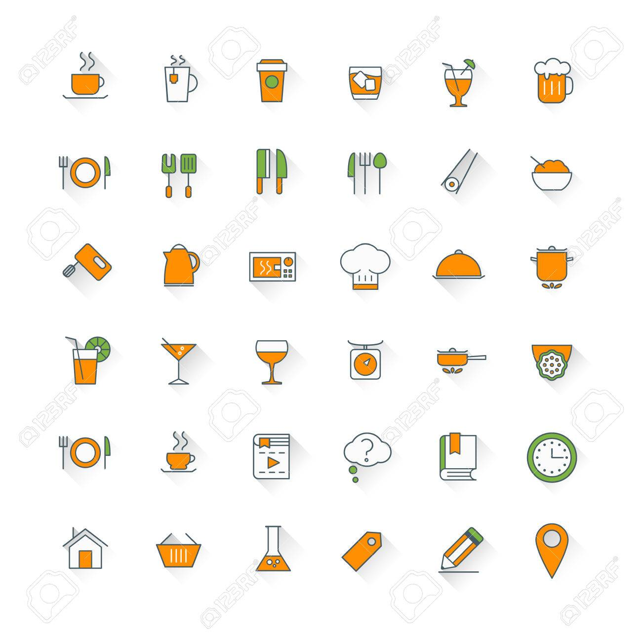 Restaurant Kitchenware food and restaurant flat design icon set. food, beverages, cooking