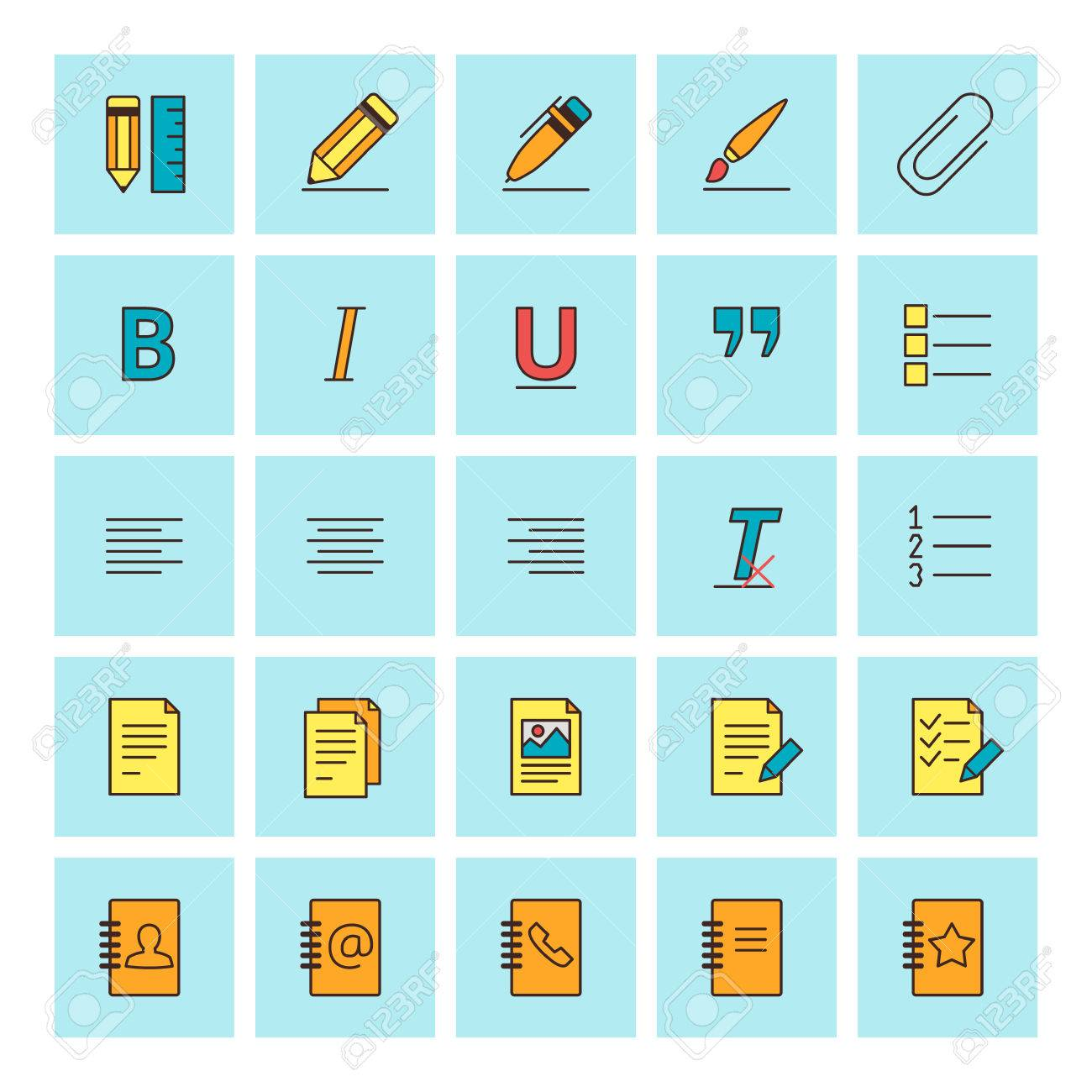 text formatting icons vector icon set in flat design style