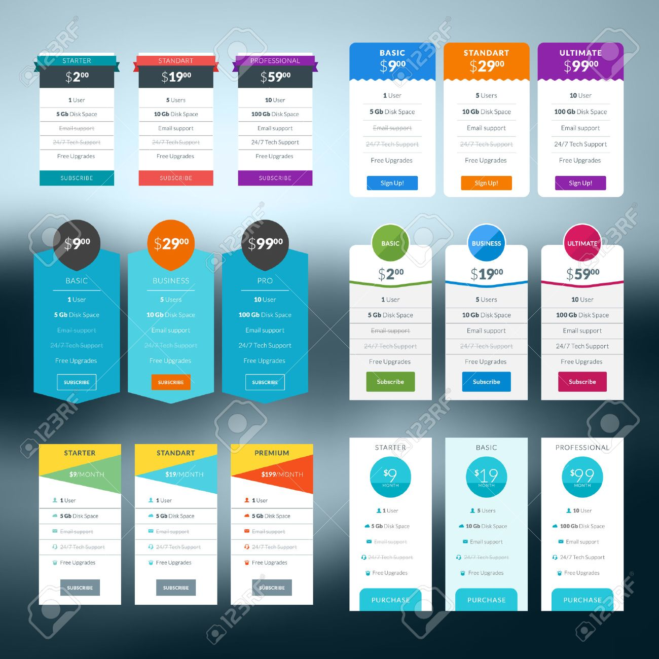 Table chart design - Set Of Pricing Table In Flat Design Style For Websites And Applications Stock Vector 35905074