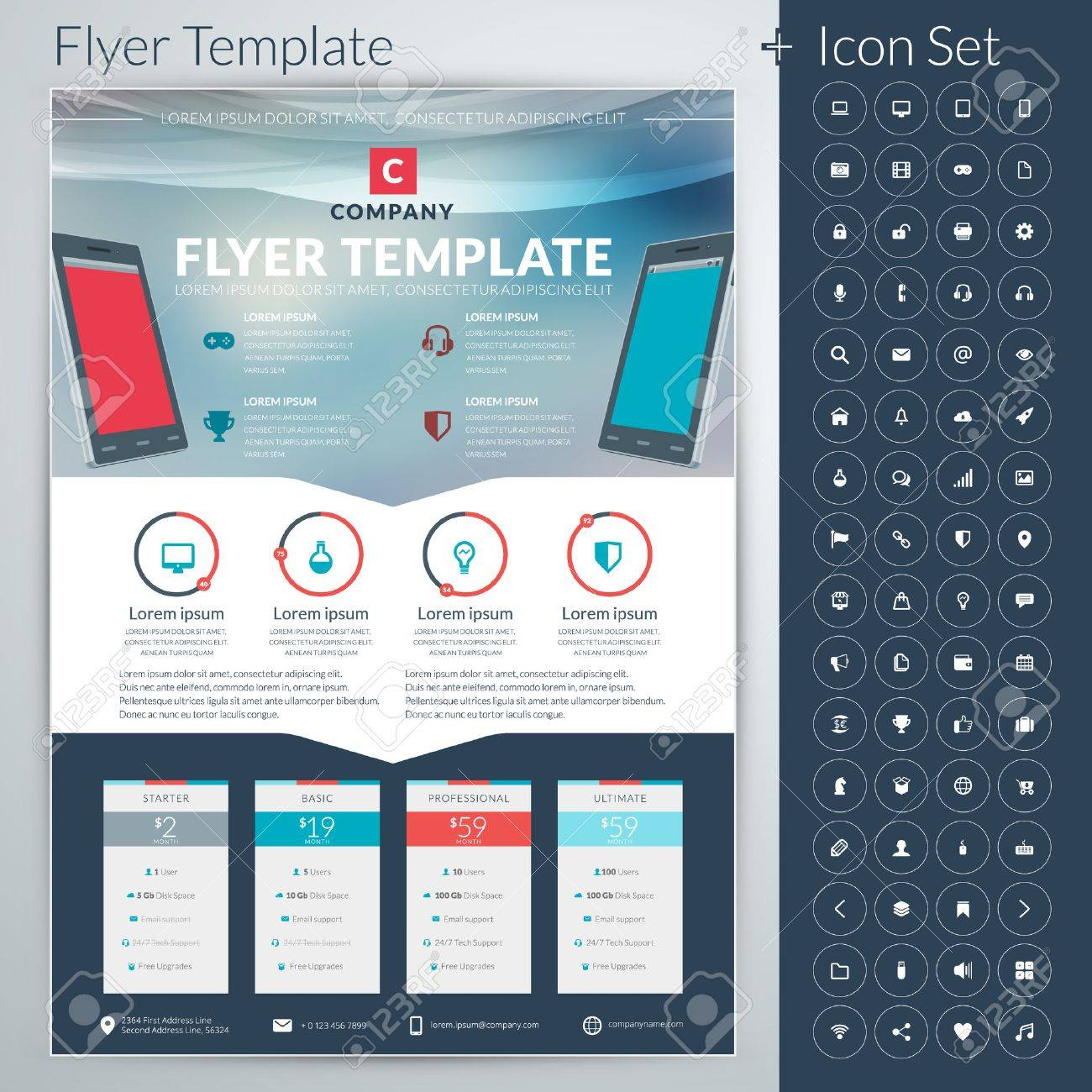 Abstract business flyer or poster template with icon set royalty abstract business flyer or poster template with icon set stock vector 35905578 flashek Gallery
