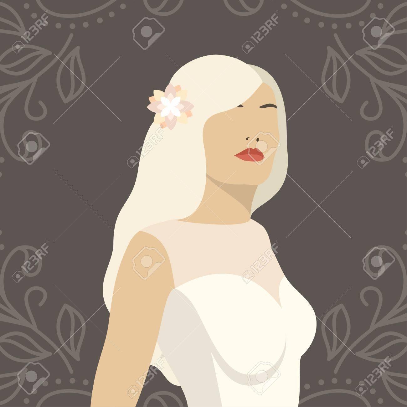 Schöne Braut Frau In Hochzeitskleid. Vektor Design Vorlage Für Einladungen  Oder Ankündigungen Standard