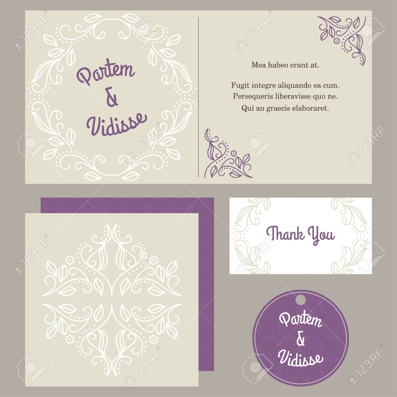 vector design template of wedding invitation with envelope royalty