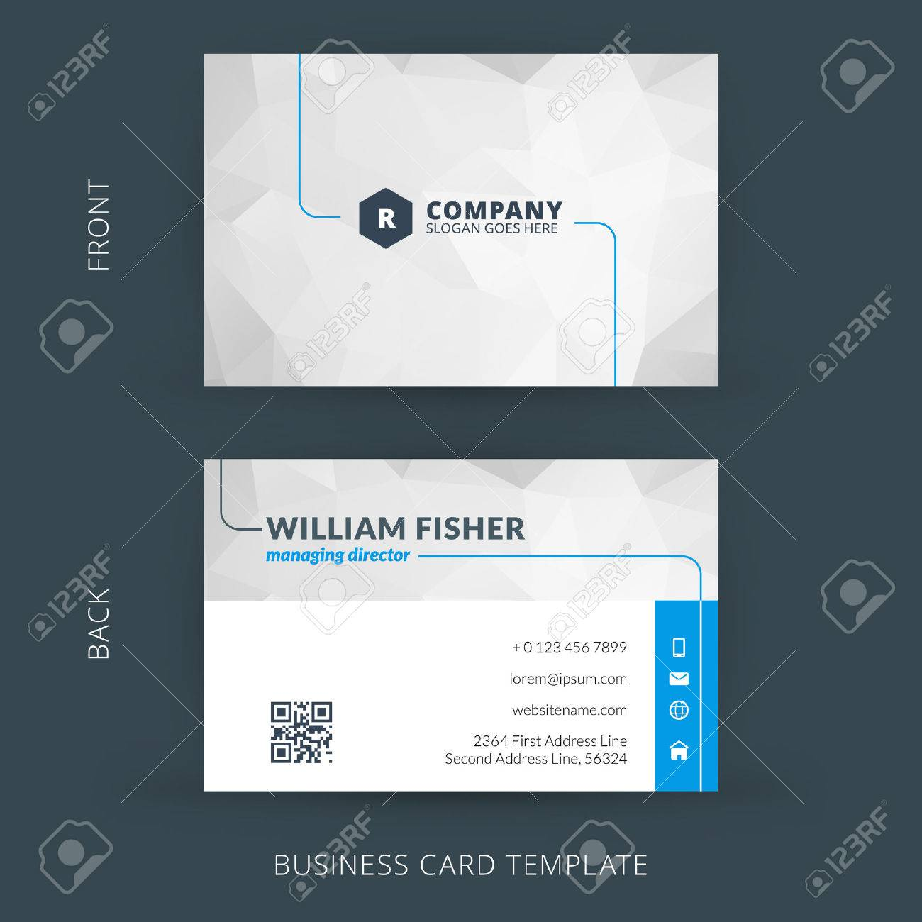 Vector Modern Creative And Clean Business Card Template. Flat ...