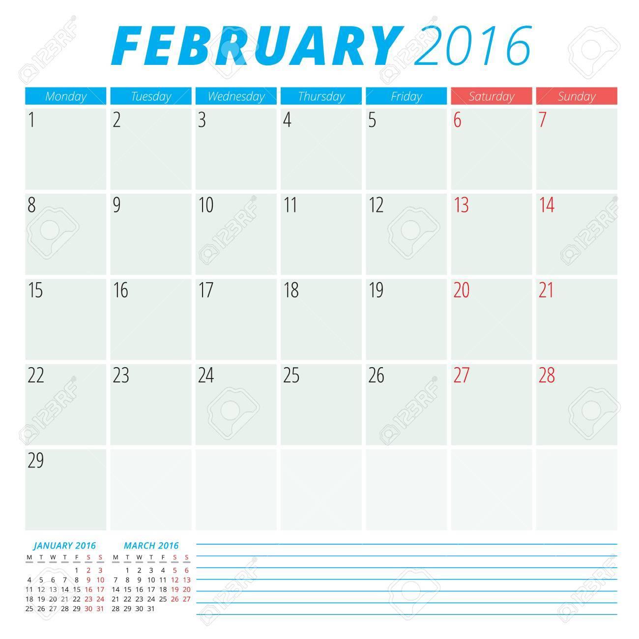 Kalender 2016 Vektor flachen