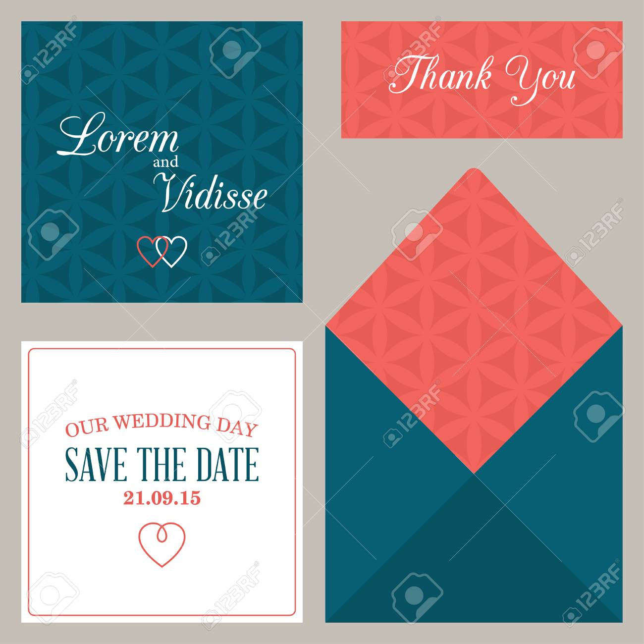 Vector Design Template Of Wedding Invitation With Envelope Royalty ...