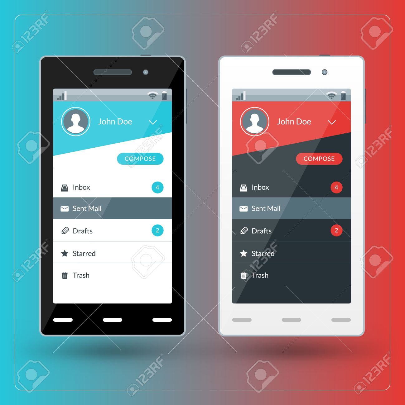 modern smartphone with email app screen flat design template