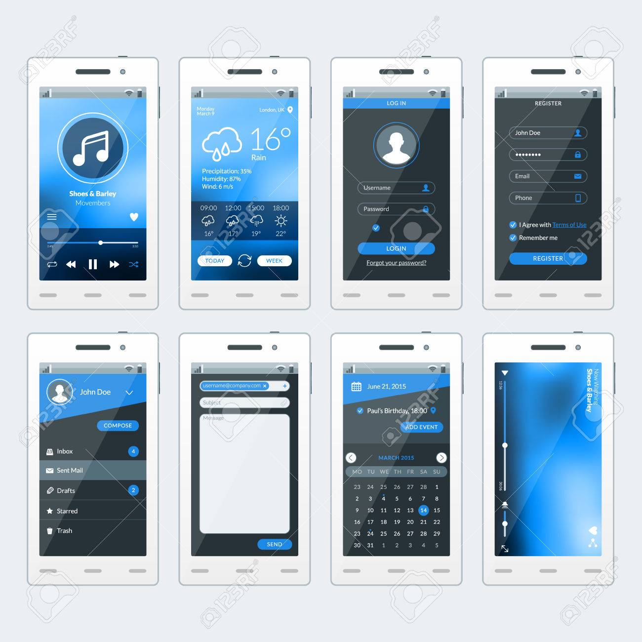 set of vector illustrations of modern smartphone with apps flat design template for mobile apps