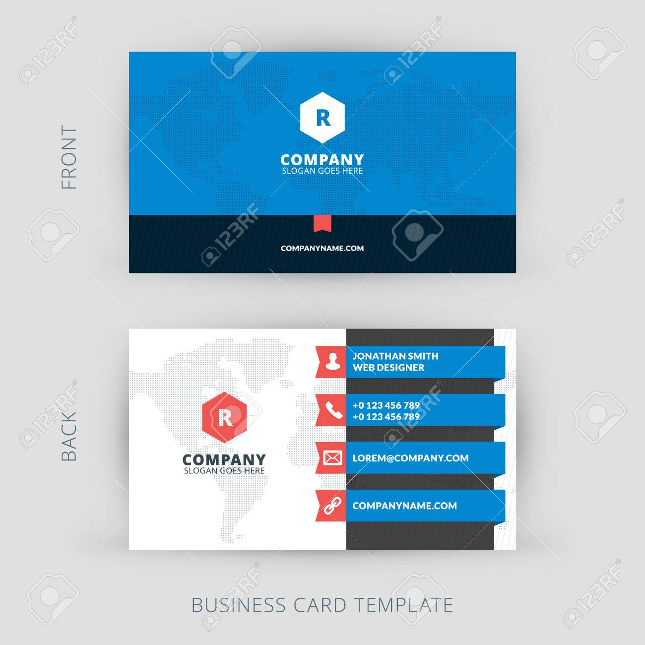 Vector Modern Creative And Clean Business Card Template Flat Design Stock