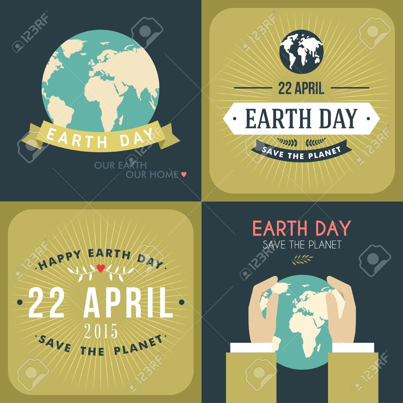 Poster design on save earth - Set Of Vintage Earth Day Celebrating Card Or Poster Design Stock Vector 38481072