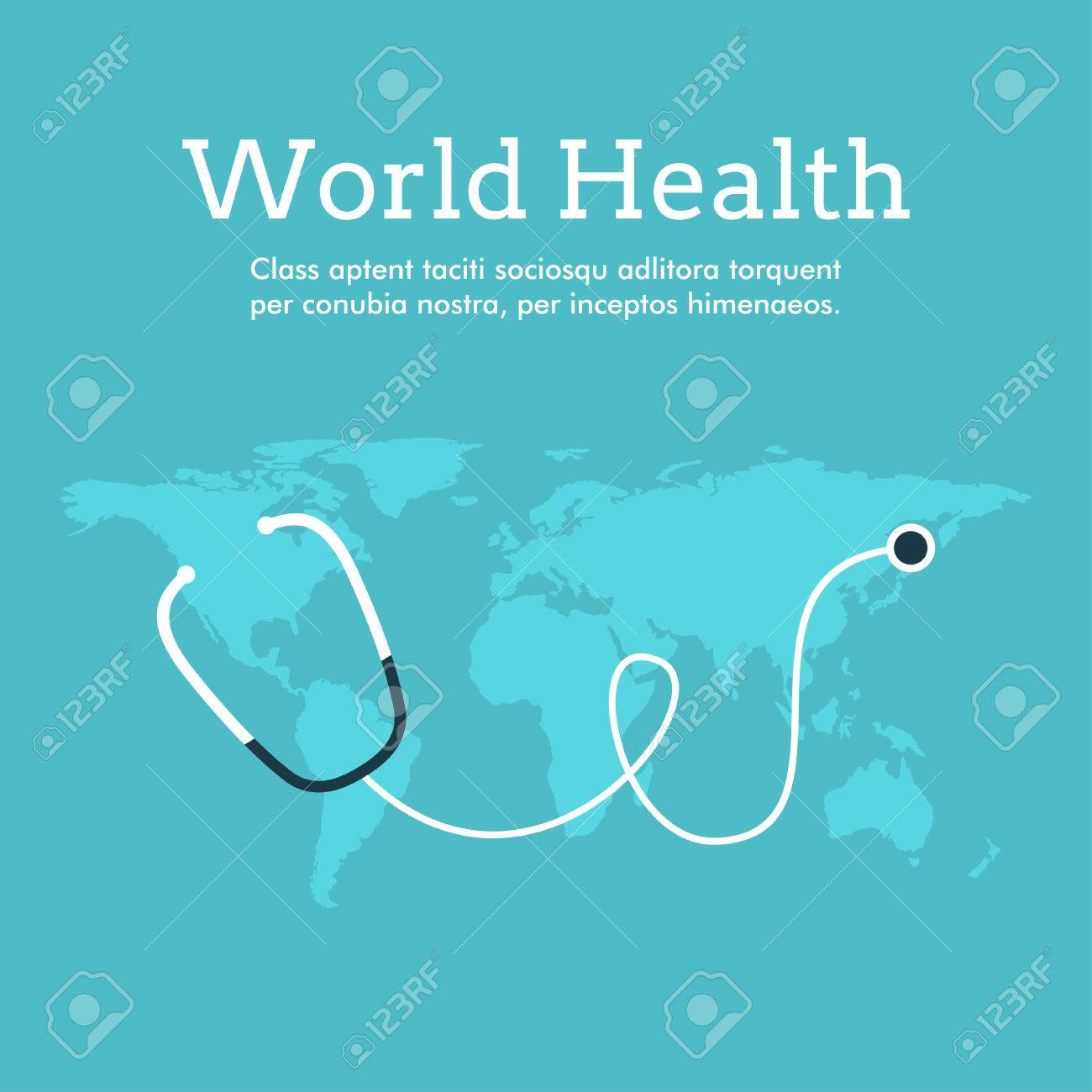 Poster design health - Vector World Health Day Celebrating Card Or Poster Design Earth With Phonendoscope