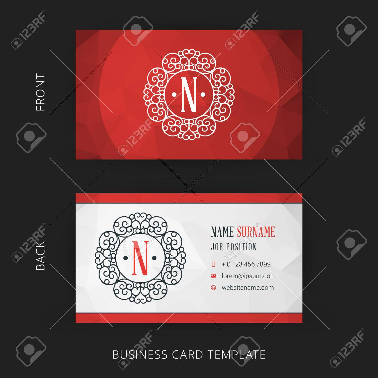 Vector Creative Business Card Template With Line Art Hipster ...