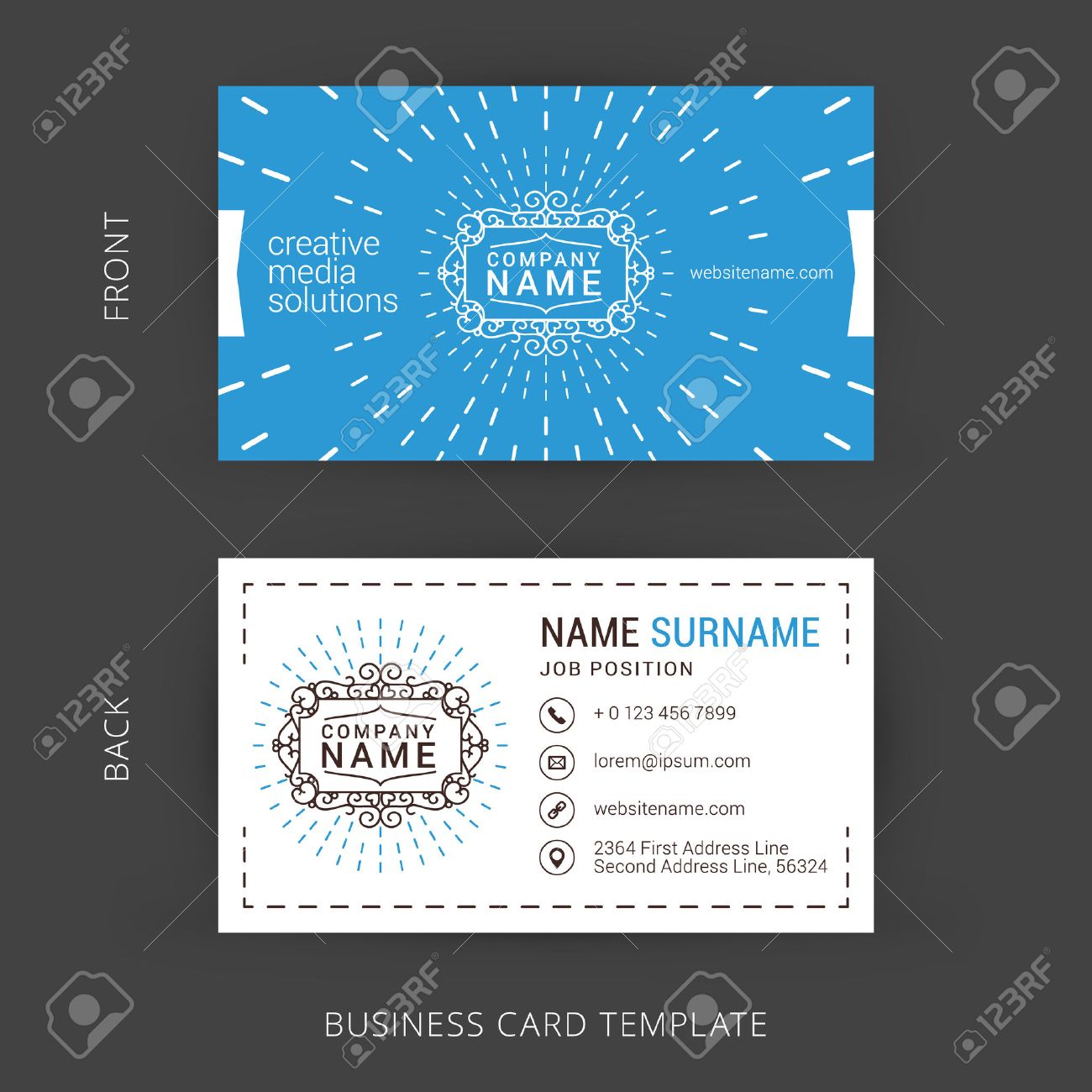 Vector creative business card template with line art hipster vector vector creative business card template with line art hipster logo accmission Gallery