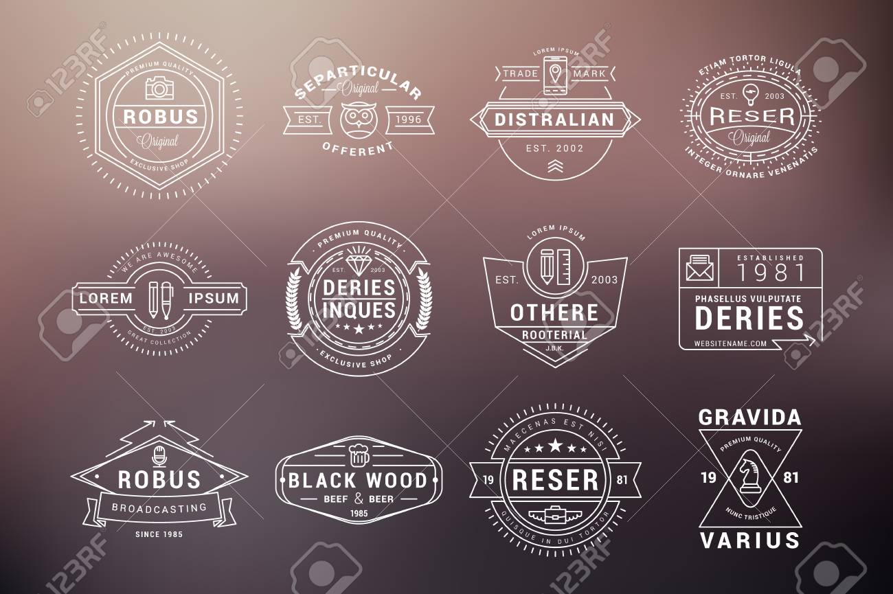 Conjunto De Etiquetas Vintage Hipster, Logotipos, Insignias ...