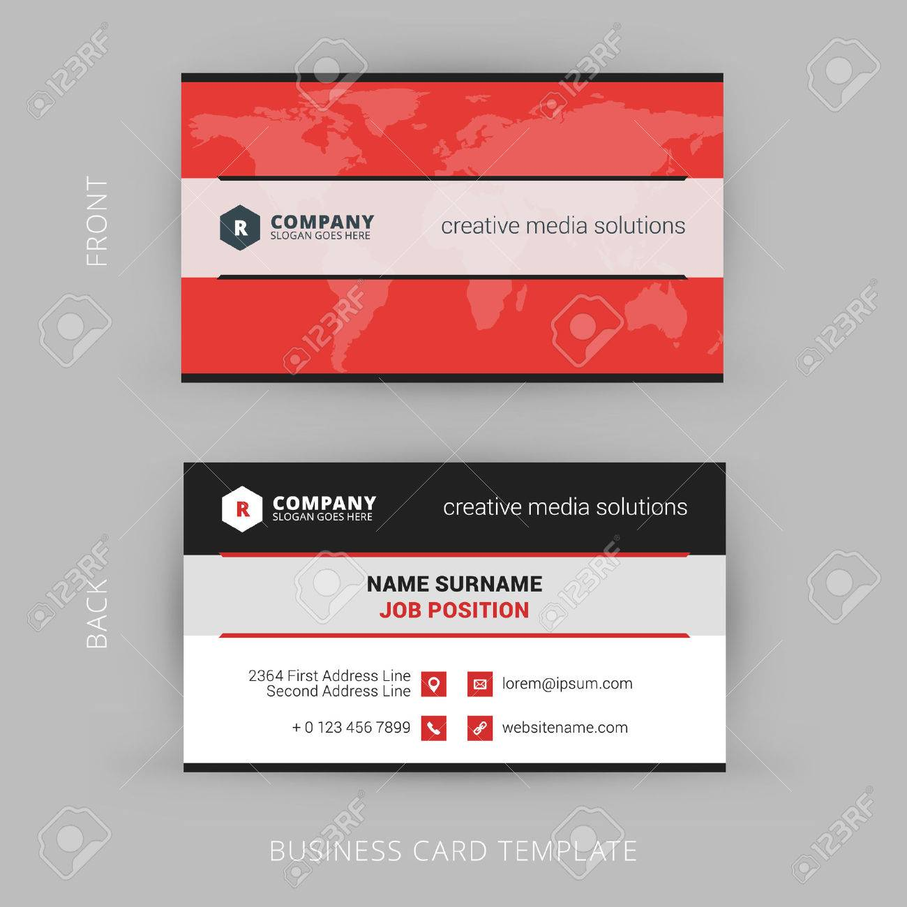 Vector Modern Creative And Clean Business Card Template Royalty Free ...