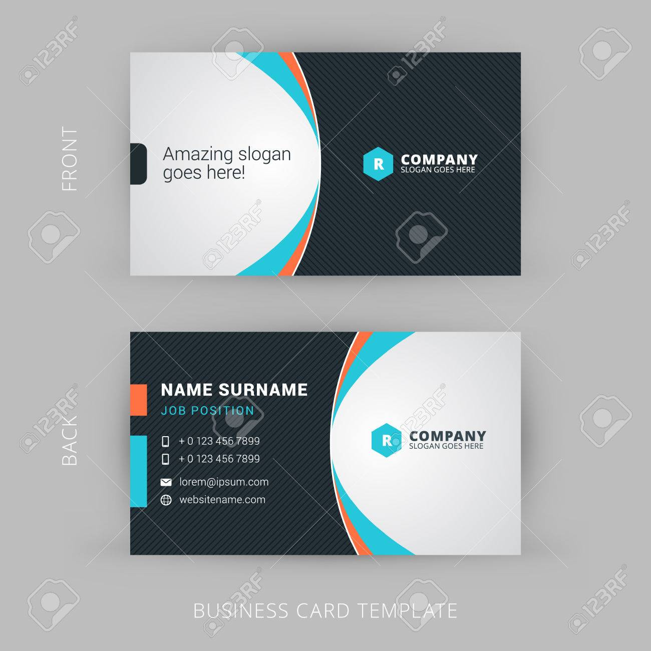 Creative And Clean Vector Business Card Template Stock