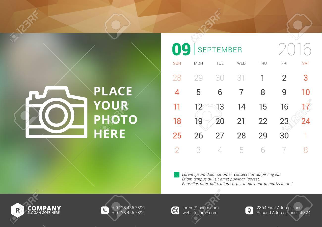 desk calendar 2016 vector design template week starts sunday