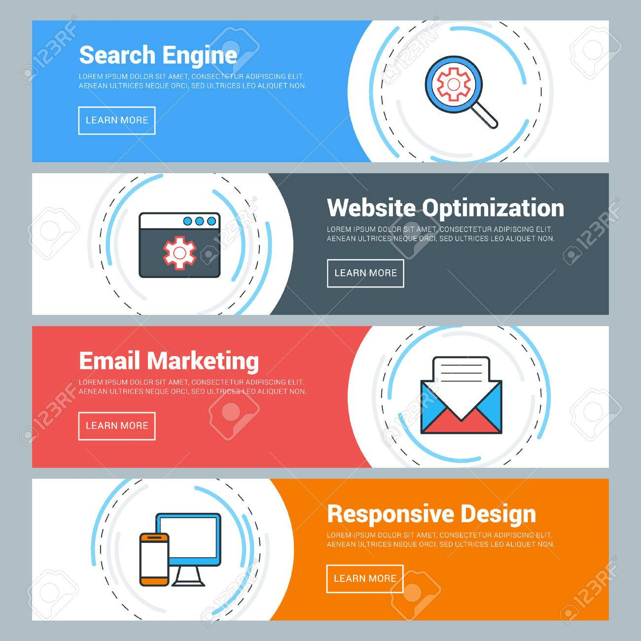 Flat Design Concept. Set Of Vector Web Banners. Search Engine ...