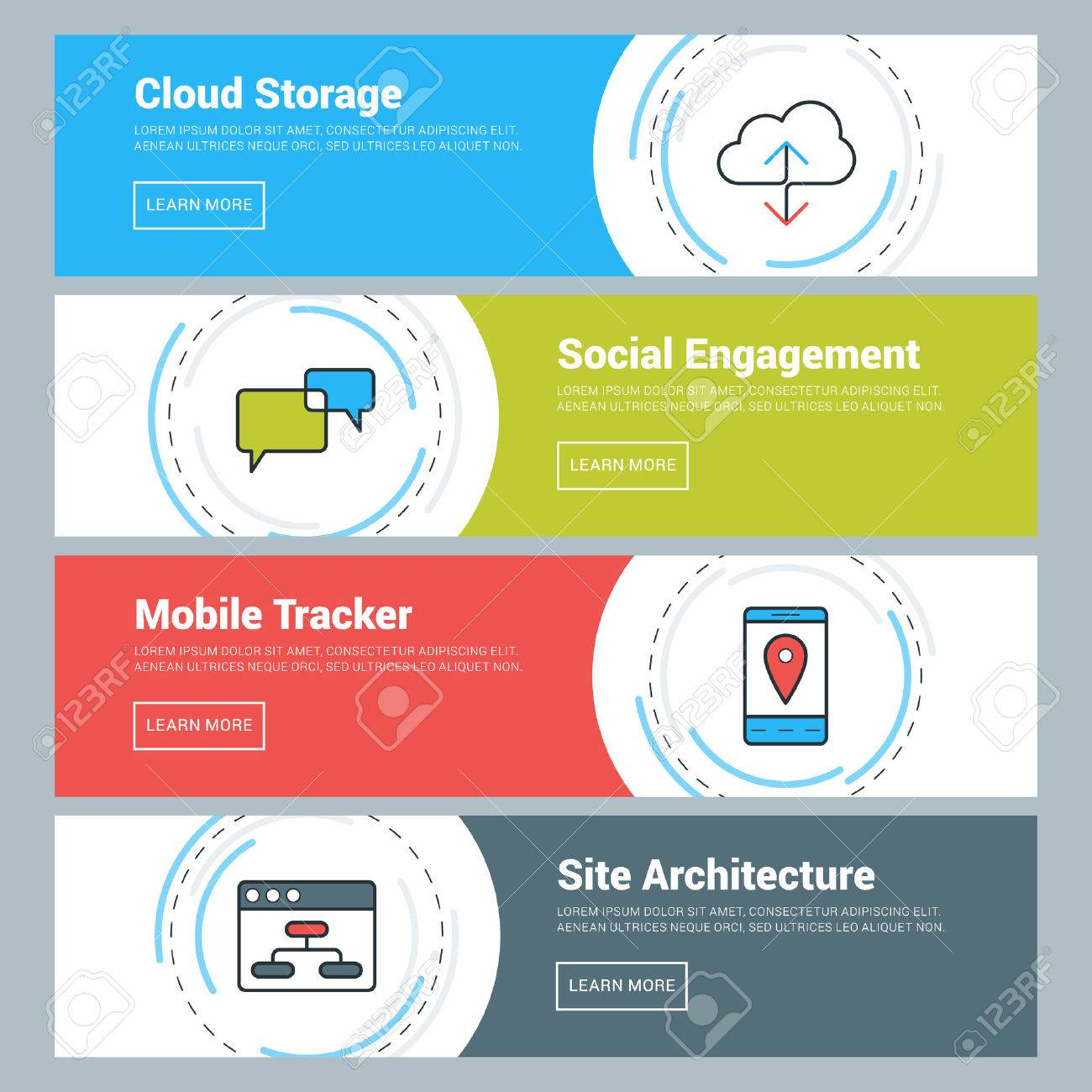 Flat Design Concept  Set of Vector Web Banners  Cloud Storage,