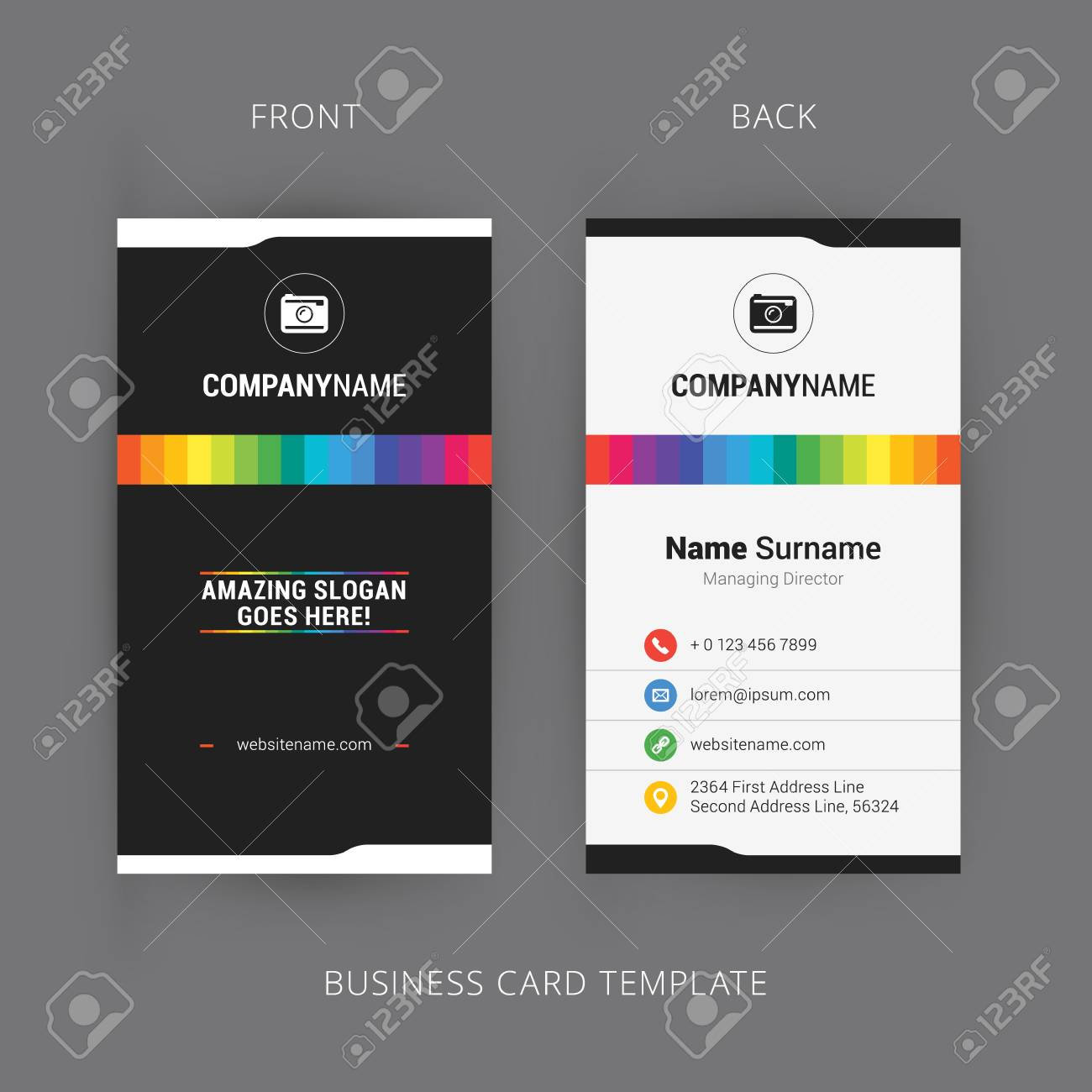 Vector modern creative and clean business card template with rainbow banco de imagens vector modern creative and clean business card template with rainbow element reheart Images