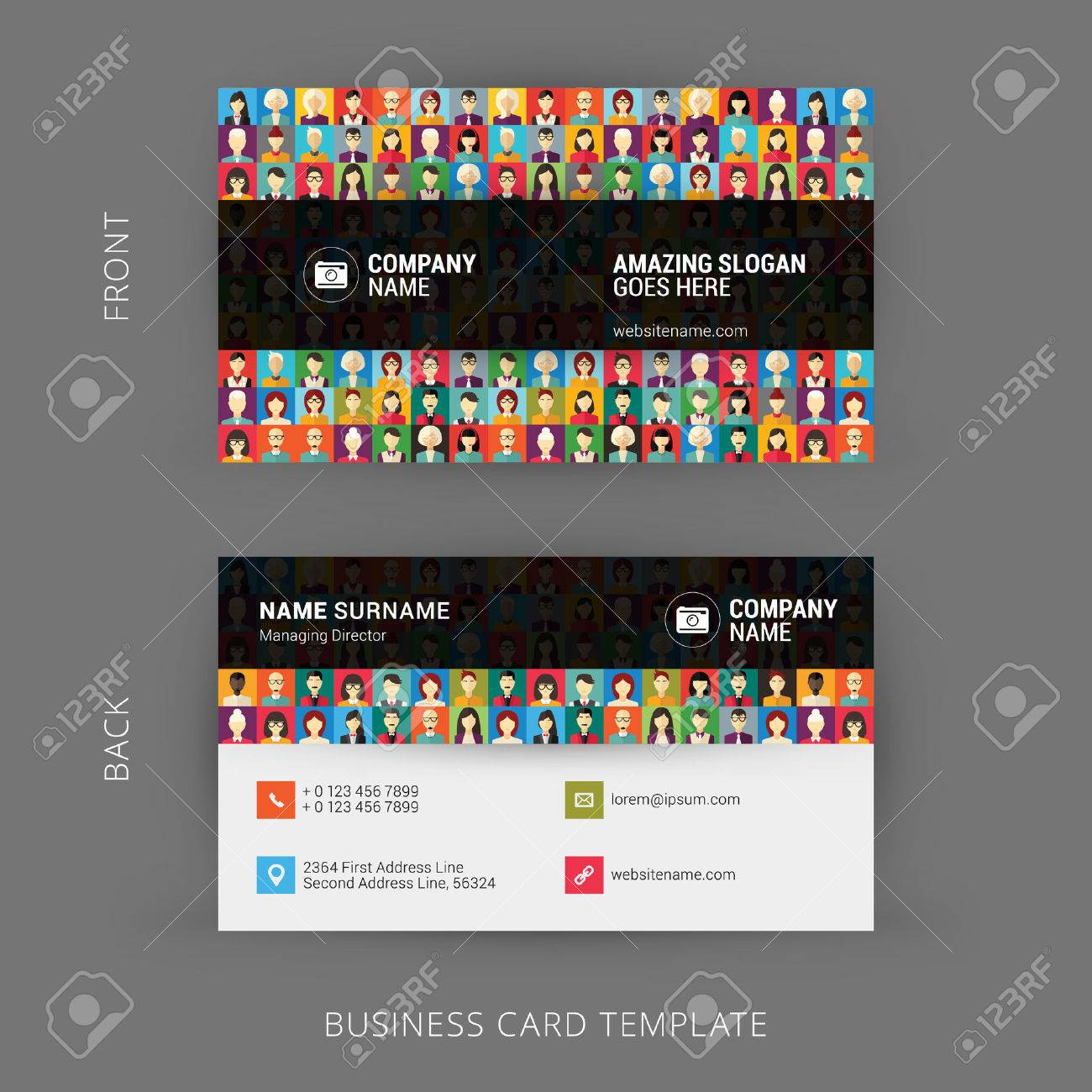 Creative and clean business card template flat design pattern creative and clean business card template flat design pattern with human faces stock vector colourmoves