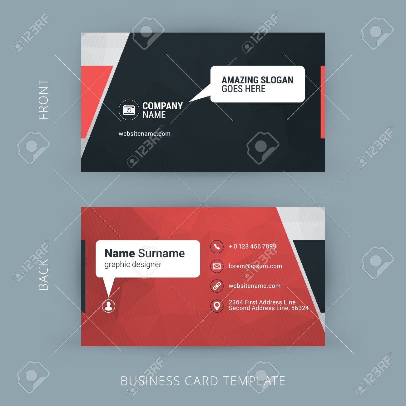 Creative And Clean Business Card Template. Red Polygonal Background ...