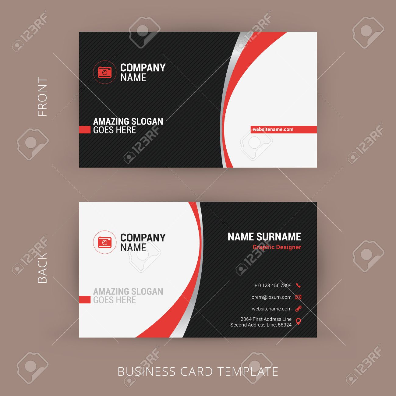 Creative and clean business card template black and red colors creative and clean business card template black and red colors stock vector 44711429 colourmoves