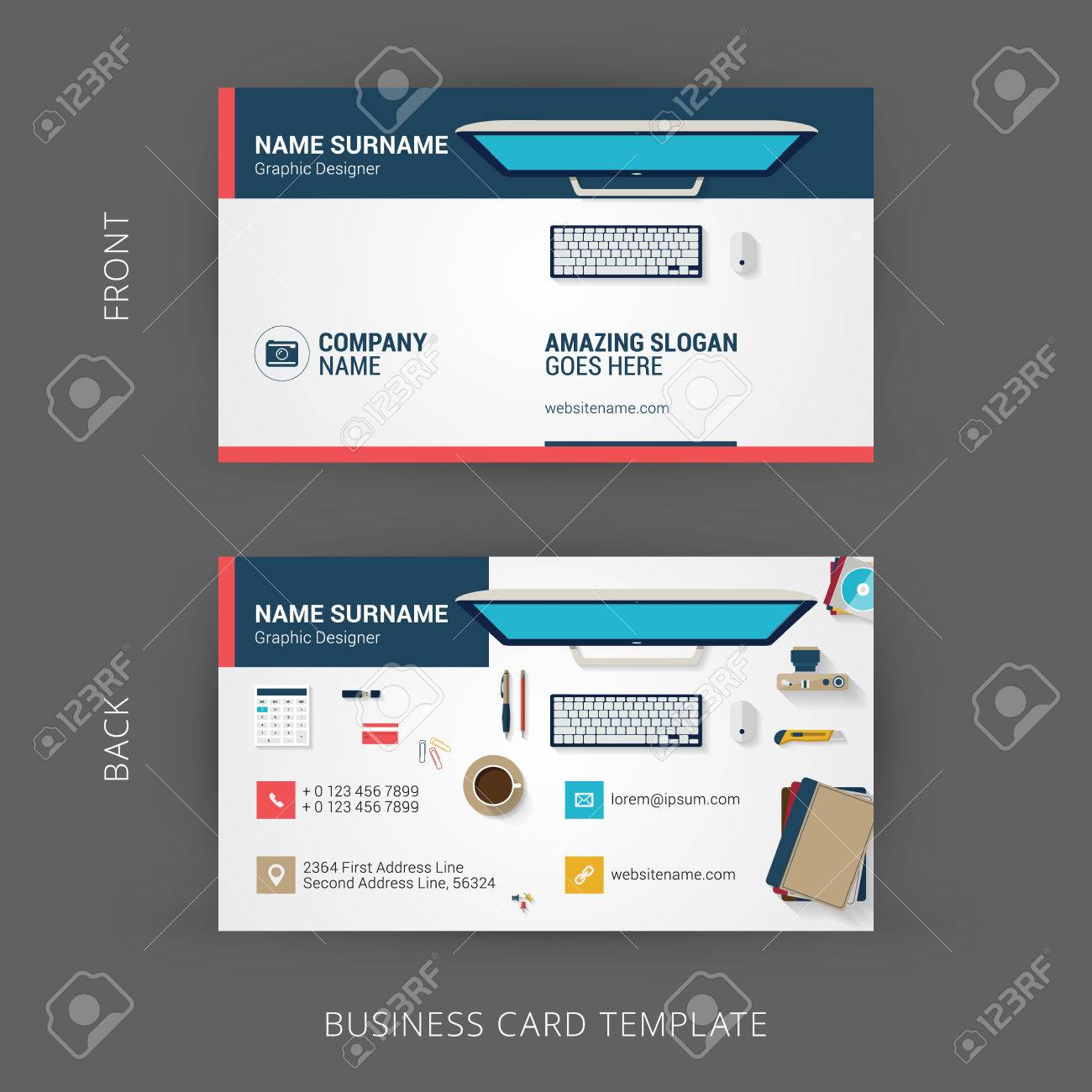 creative and clean business card template with flat design illustration of office workspace stock vector