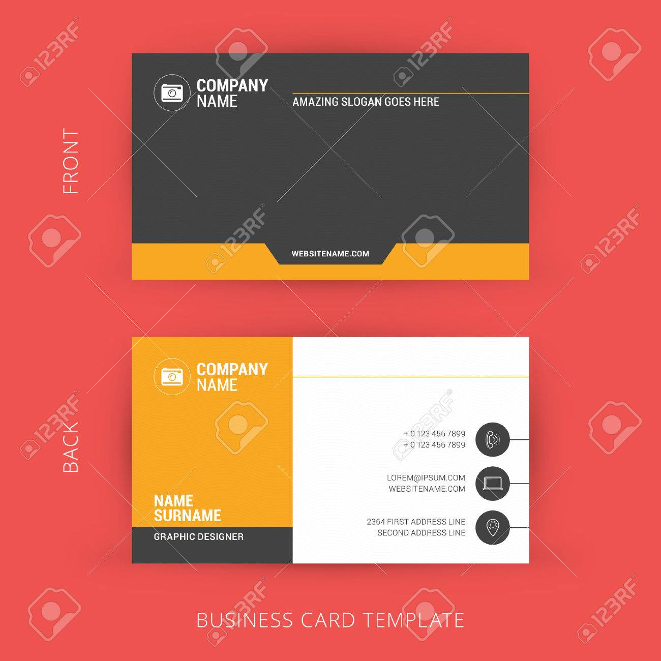 Creative And Clean Business Card Template. Flat Design Royalty Free ...