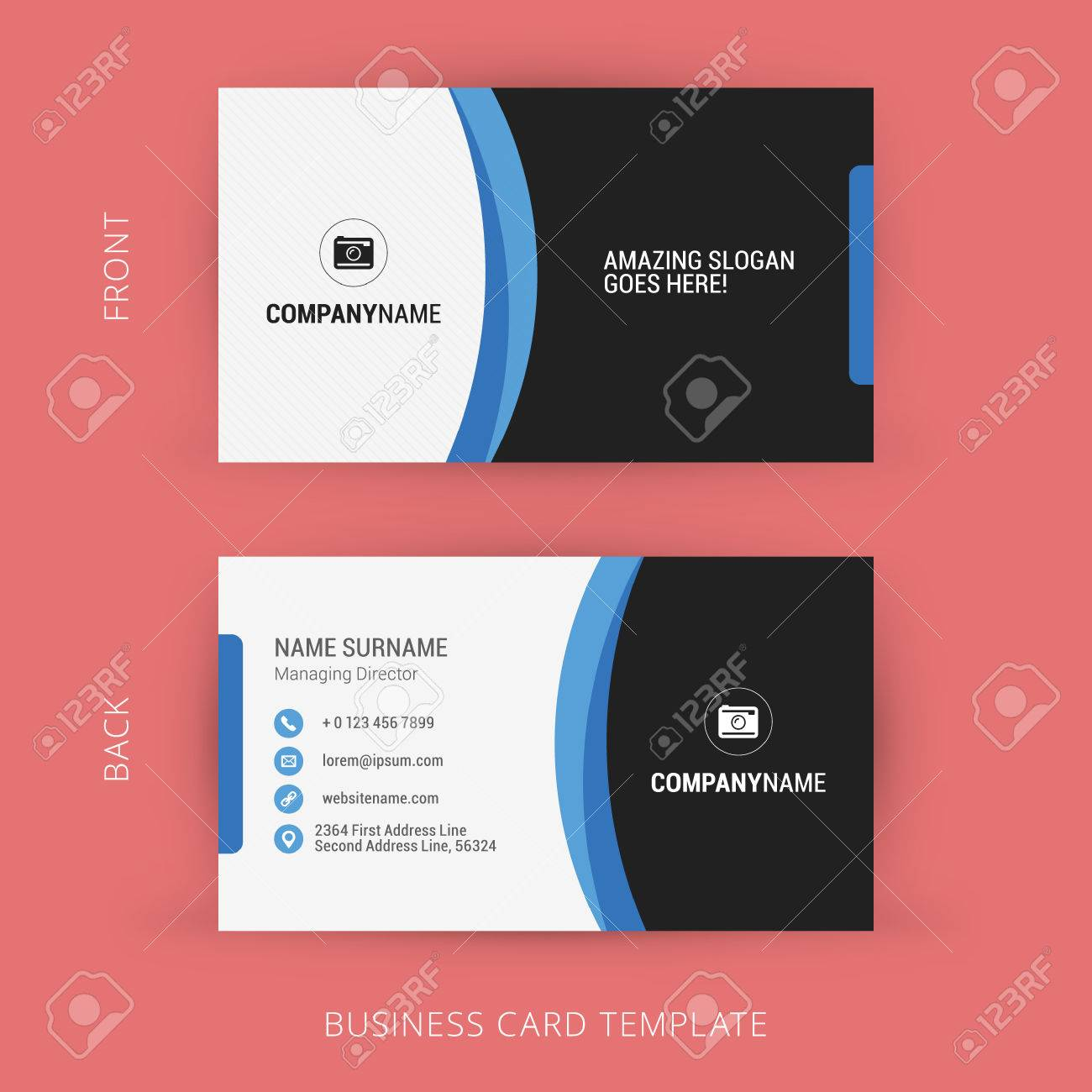 Creative and clean business card template black and blue colors creative and clean business card template black and blue colors stock vector 44708642 colourmoves