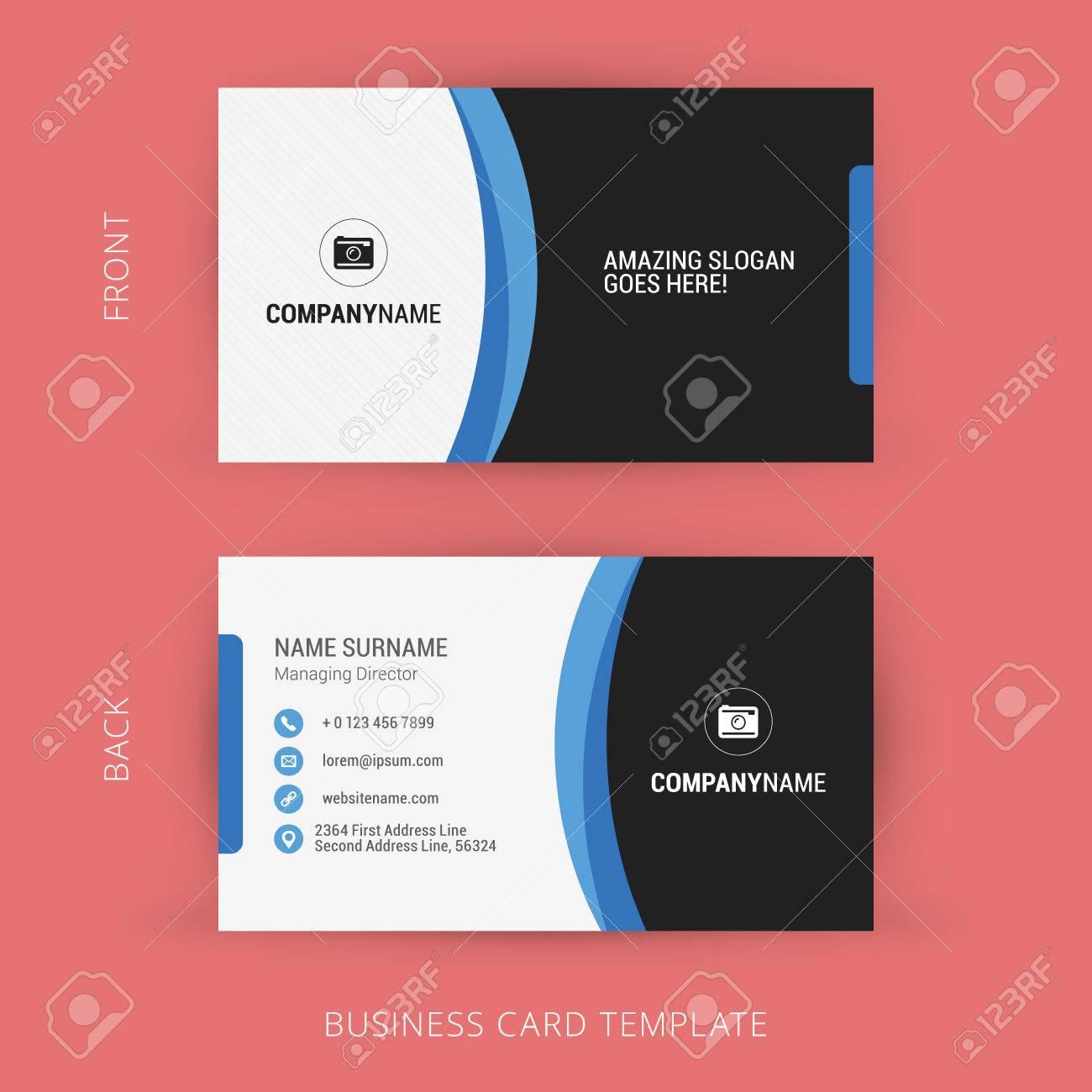 Modele De Carte Visite Creative Et Propre Couleurs Noir Bleu