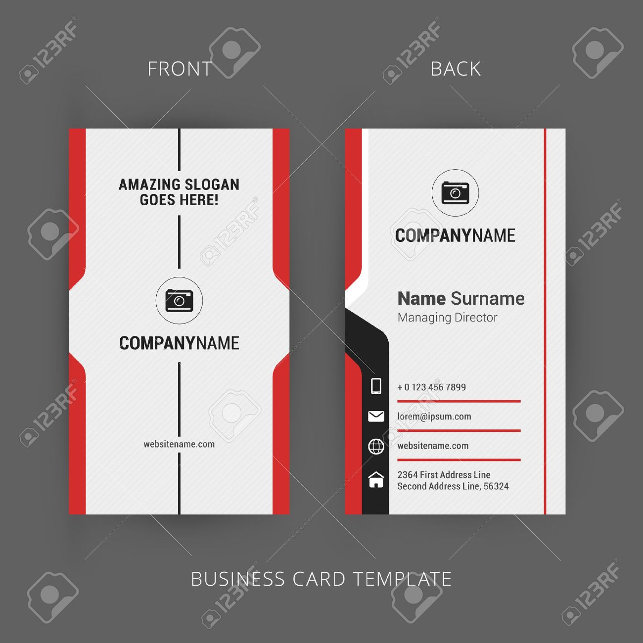 Creative and clean business card template vertical template royalty creative and clean business card template vertical template stock vector 44708643 cheaphphosting Gallery