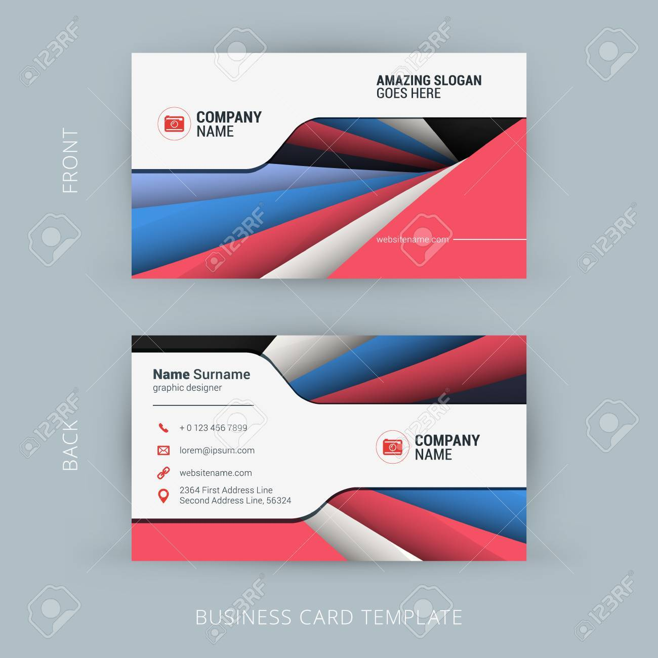 Creative and clean business card template with material design creative and clean business card template with material design abstract colorful background stock vector 44989276 reheart Gallery