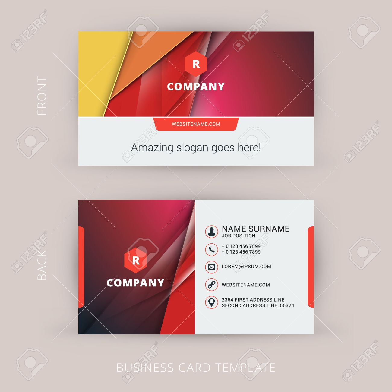 Creative And Clean Business Card Template With Material Design - Business card templates designs