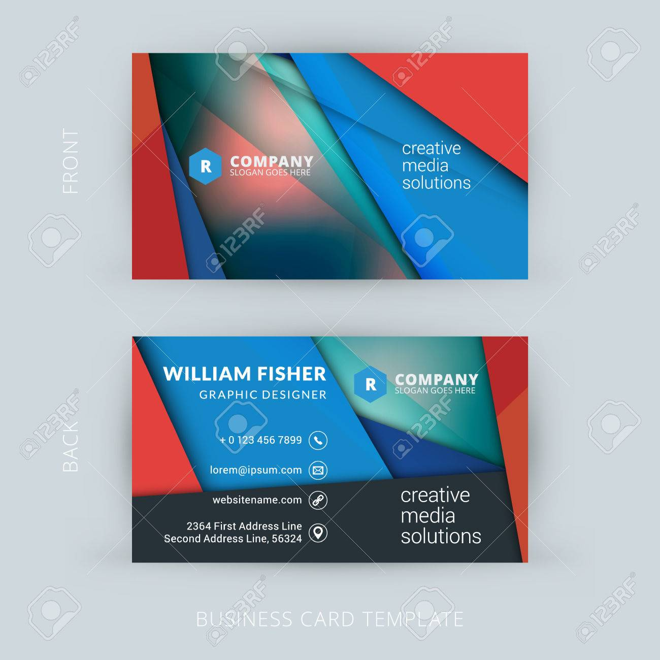 Creative and clean business card template with material design creative and clean business card template with material design abstract colorful background stock vector 44989817 magicingreecefo Choice Image