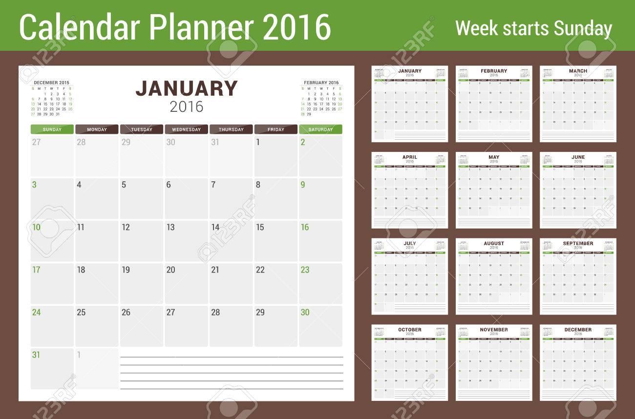 Calendario Del Planificador Para El 2016 Año. Vector Papelería ...