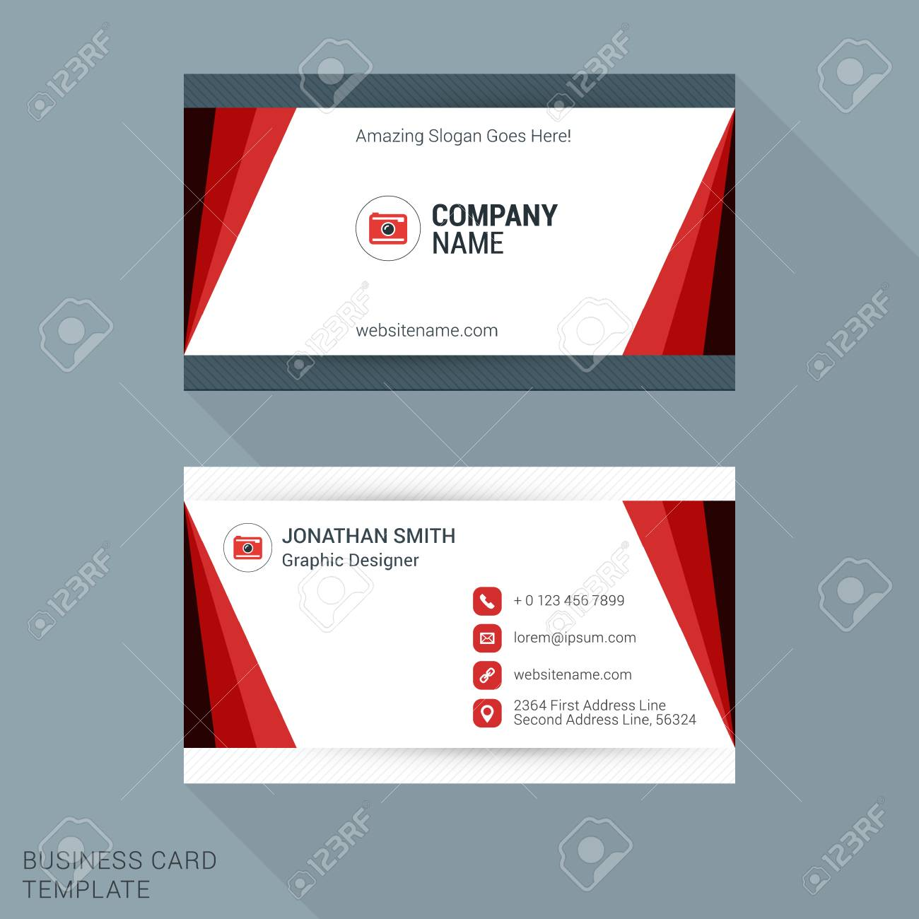 Modern creative and clean business card template in red color modern creative and clean business card template in red color vector illustration stock vector reheart Images