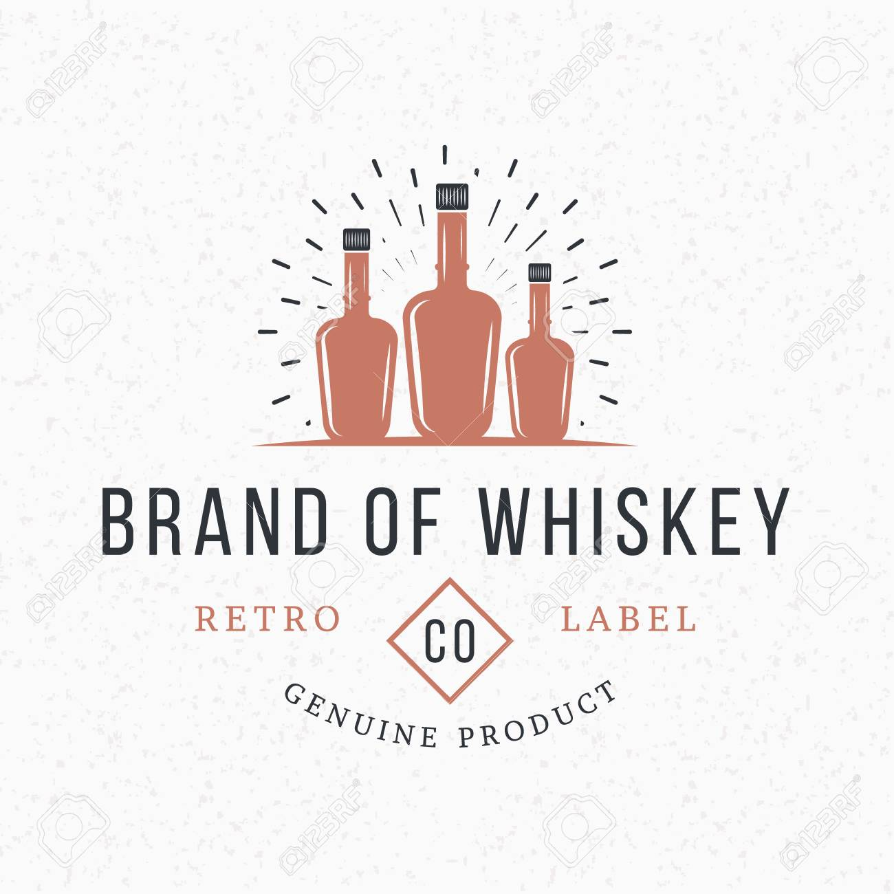 whiskey bottles. vintage retro design elements for logotype
